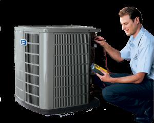Air conditioning technician repairing heat pump unit