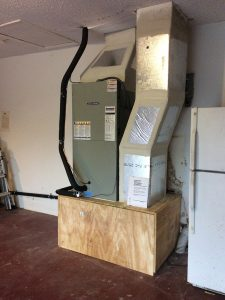 Air Handler installed on reconstructed stand