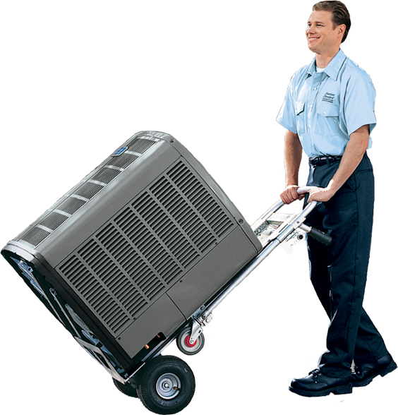 Air conditioning installer with replacement AC unit