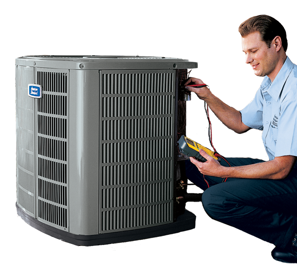 Air conditioning technician repairing heat pump unit