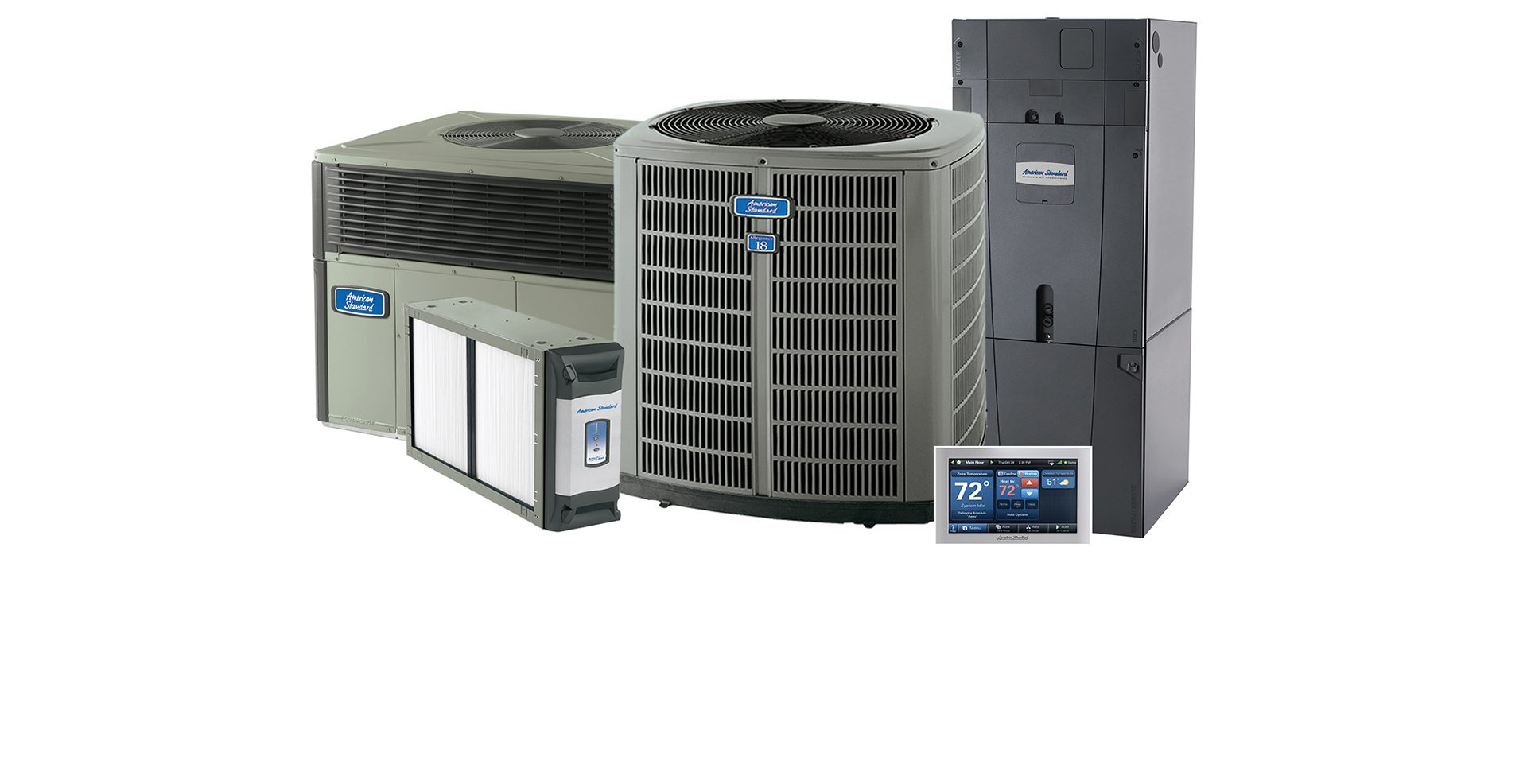 American Standard brand of air conditioning equipment dealer, HVAC Equipment family photo
